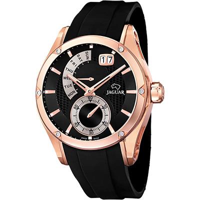 JAGUAR Special Edition 星期小秒針手錶-玫瑰金框x黑/44mm