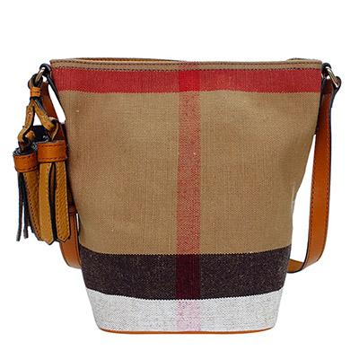 BURBERRY經典CANVAS格紋黃駝肩/斜背水桶包(小)