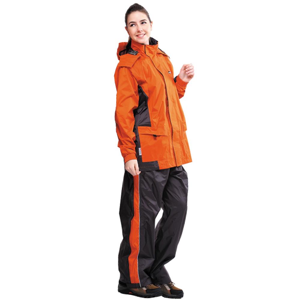 達新牌 彩仕兩件式休閒風雨衣套裝-橘/灰