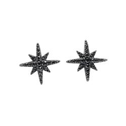 apm MONACO法國精品珠寶 閃耀黑色繁星鑲鋯耳針式耳環