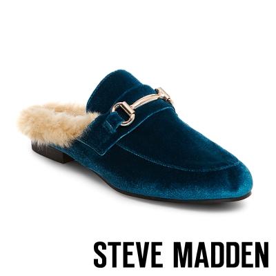 STEVE MADDEN-JILL-TURQ VEL 毛絨低跟穆勒鞋-絨藍