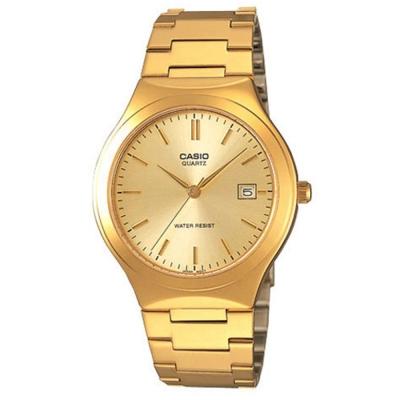 CASIO 經典復古簡約指針紳士日曆腕錶-金X黃色(MTP-1170N-9)40mm