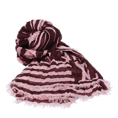 LV-M75031-經典KARAKOAM-喀什米爾混紡線條造型印花披肩-圍巾-梅紅色