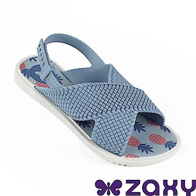 Zaxy 巴西 童編織完美涼鞋-粉藍色/米色