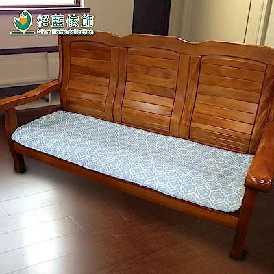 格藍傢飾 雅室緹花坐墊套-藍3人 (不含內坐墊)