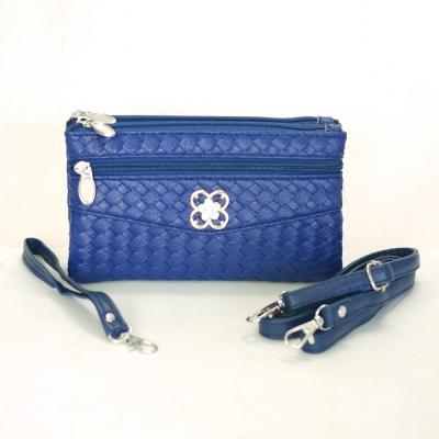 Miyo摩登時尚編織紋多層格功能包(寶藍)