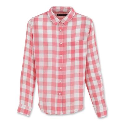 Hang Ten - 女裝 - 都會時尚格紋長袖襯衫 - 粉
