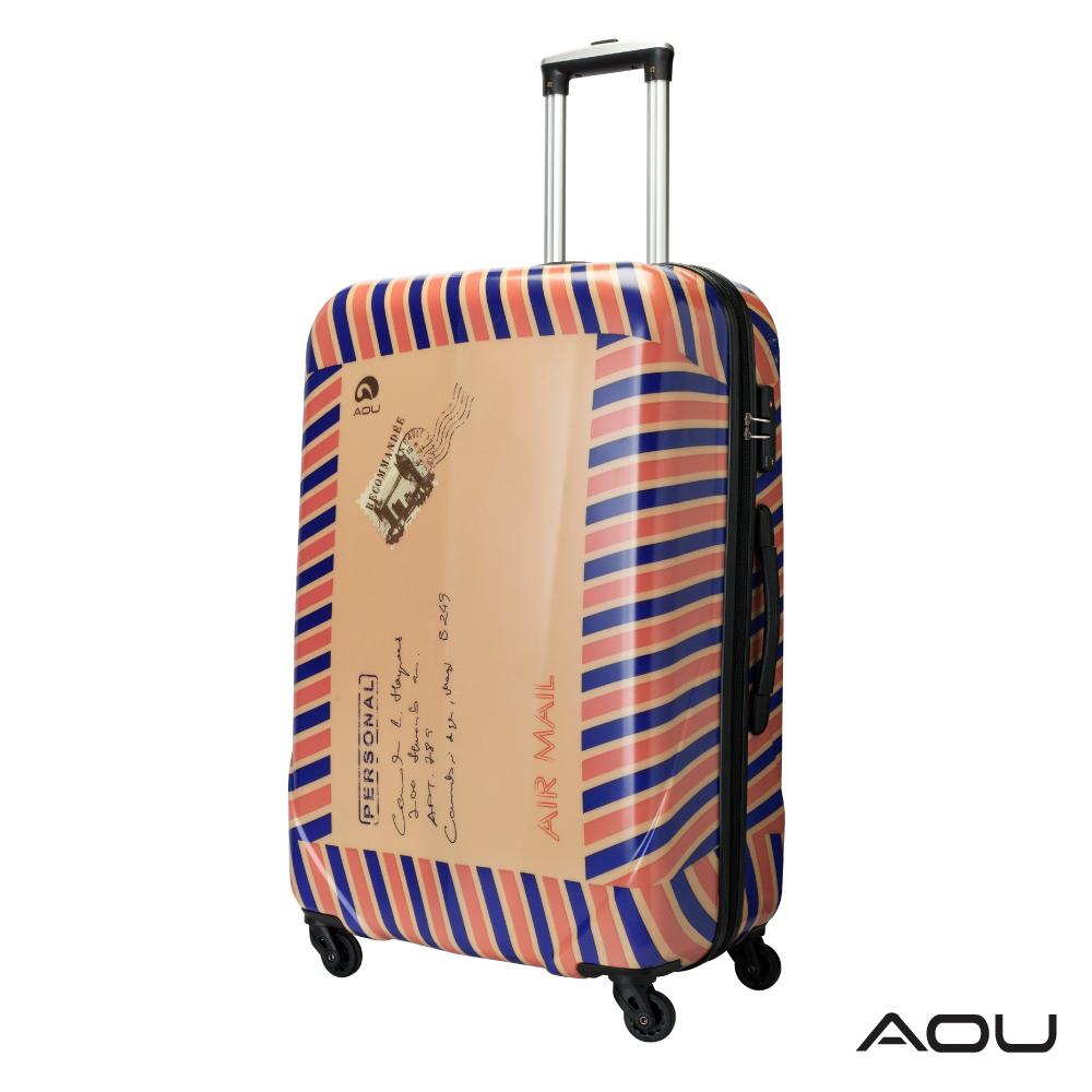 AOU 24吋 愛心公益 TSA海關鎖鏡面硬殼箱 旅行箱(郵票箱)90-032B @ Y!購物