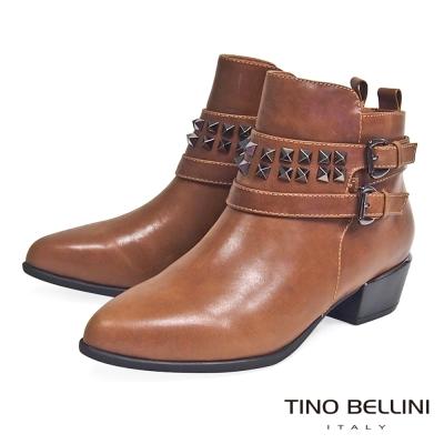 Tino Bellini 搖滾鉚釘帥勁尖楦低跟短靴_棕