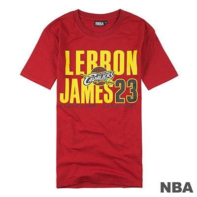 NBA-LeBron James網眼號碼印花短T-深紅 (男)
