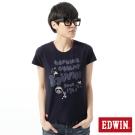 EDWIN T恤 江戶勝 水墨禪意短袖T恤-女-丈青