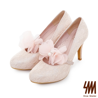 SM-手工婚鞋-蕾絲花環防水台小圓尖頭高細跟新娘鞋-粉色