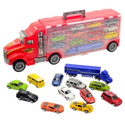 《Truck Carrying》活動把手提式貨櫃車收納組(送13台模型小車)