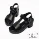 iki2-真皮T字厚底涼鞋 -個性黑
