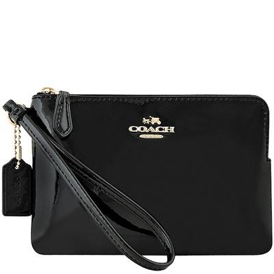 COACH-黑色馬車亮面皮革手拿包
