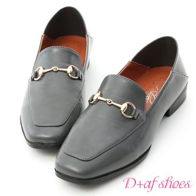D+AF 紳士嚴選.馬銜釦可後踩平底樂福鞋*灰