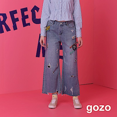 gozo 刺繡圖章個性刷破寬襬丹寧褲(藍色)