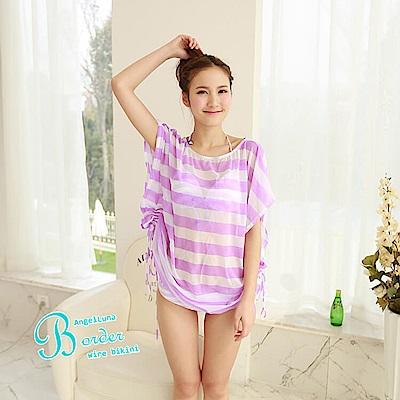 【AngelLuna日本泳裝】簡約條紋四件式比基尼泳衣-一字領紫色