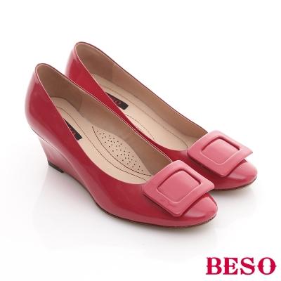 BESO-俏麗糖果-全真皮方框亮面窩心楔型鞋-桃紅