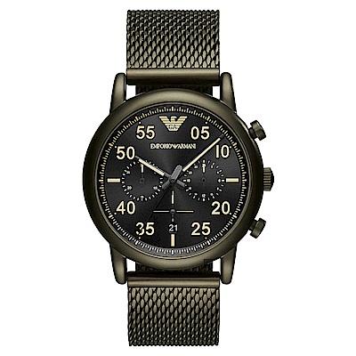 Emporio Armani Dress 亞曼尼復刻計時手錶~黑 43mm