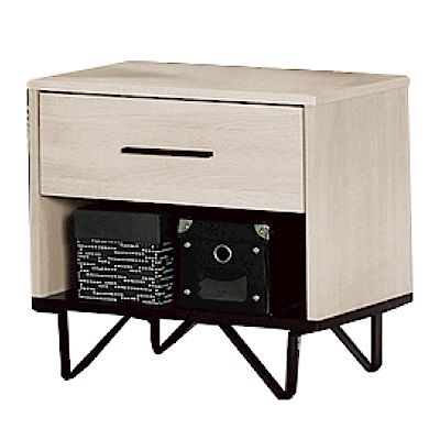 品家居 沐芬1.7尺木紋雙色單抽床頭櫃-50x40x50cm免組