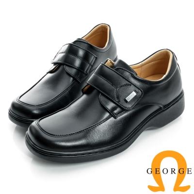 GEORGE-魔鬼沾厚底面料真皮方頭鞋-黑色