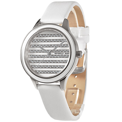 NATURALLY JOJO 閃耀魅力晶鑽時尚腕錶-銀/38mm