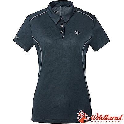 Wildland 荒野 0A61629-72深藍色 女雙色POLO領排汗上衣