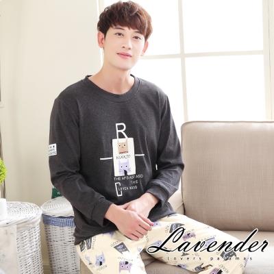 睡衣 可愛小貓居家情侶款睡衣(男)Lavender