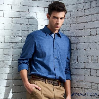 Nautica 清新海洋休閒點點長袖襯衫-藍