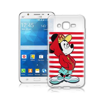 迪士尼Samsung Galaxy J7 J700街頭透明軟式手機殼(帽T米奇)