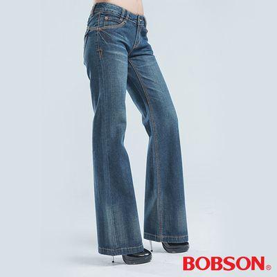 BOBSON 寬管喇叭褲-藍色