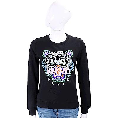 KENZO Tiger 多彩刺繡虎頭黑色棉質運動衫
