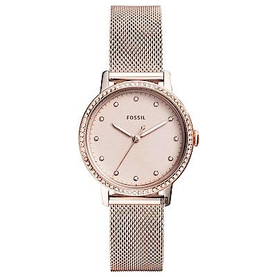 FOSSIL 魅力晶鑽米蘭帶時尚女錶-玫塊金/34mm