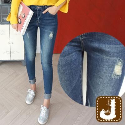 正韓 高腰貼腿彈性緊身折管-(水洗藍)100%Korea Jeans