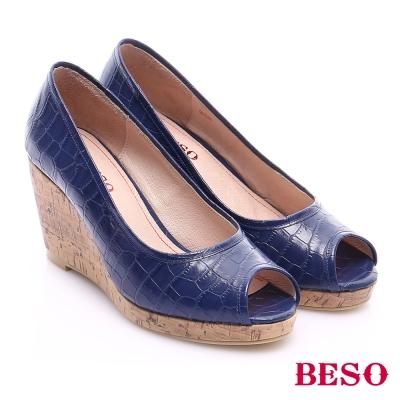 BESO-優雅極簡-壓紋真皮面魚口楔型鞋-藍