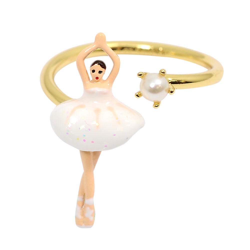 Les Nereides 優雅芭蕾舞女孩系列 白色珍珠舞者戒指