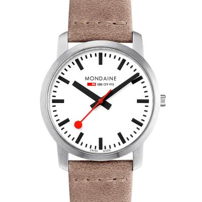 MONDAINE 瑞士國鐵 超薄系列腕錶-白x駝色錶帶/41mm