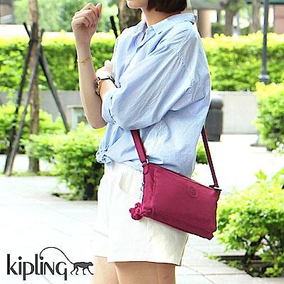 Kipling 斜背包 莓紫素面-小