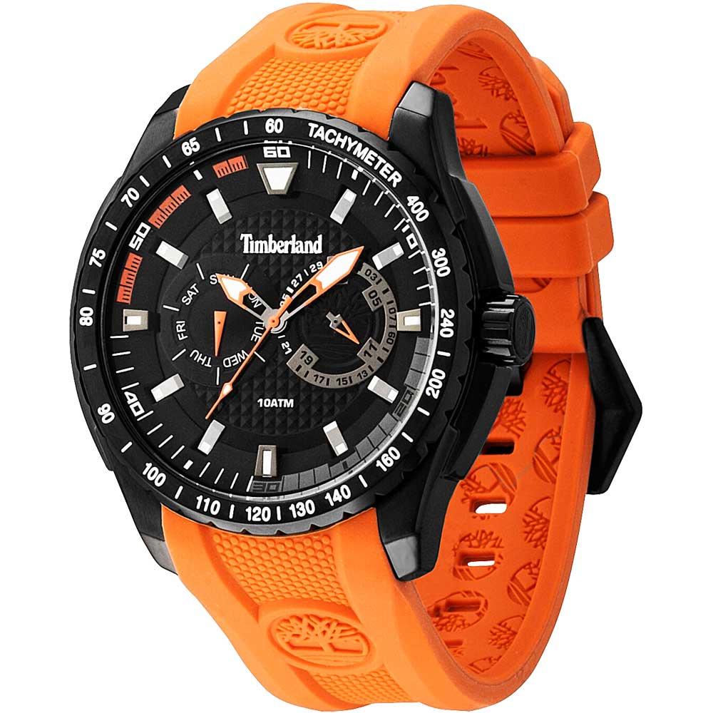 Timberland Juniper 全日曆顯示休閒腕錶-黑x橘/47mm