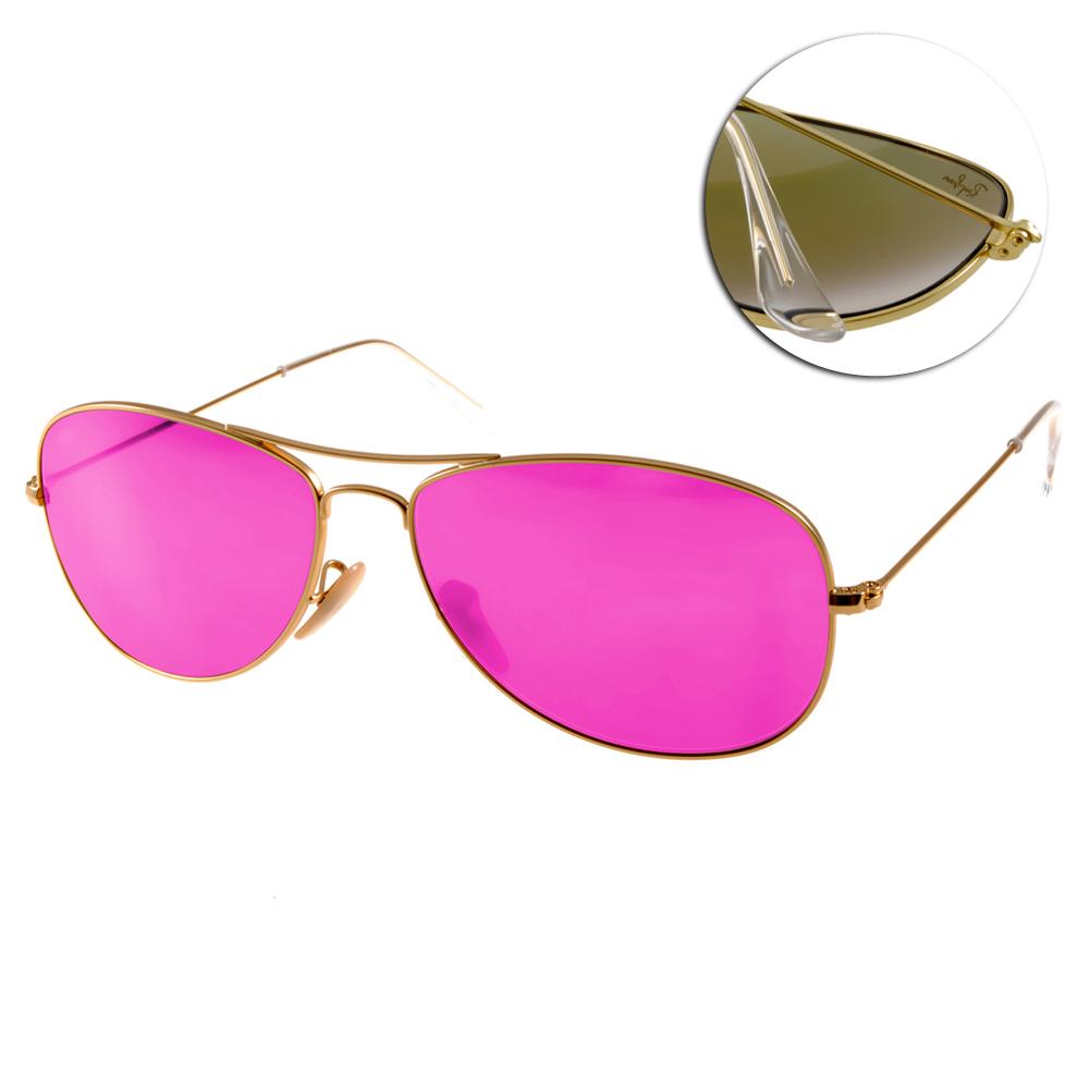 RAY BAN太陽眼鏡 經典品牌/金-水銀桃紅#RB3362 1124T