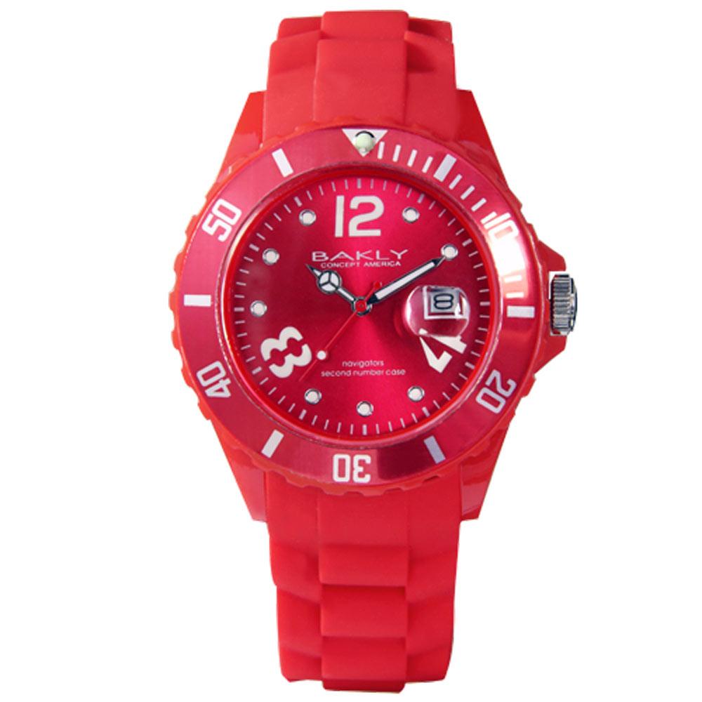 BAKLY 彩艷亮麗人生日期時尚腕錶-熱情紅/43mm