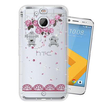 WT HTC 10 evo 5.5吋 奧地利水晶彩繪空壓手機殼(璀璨蕾絲)