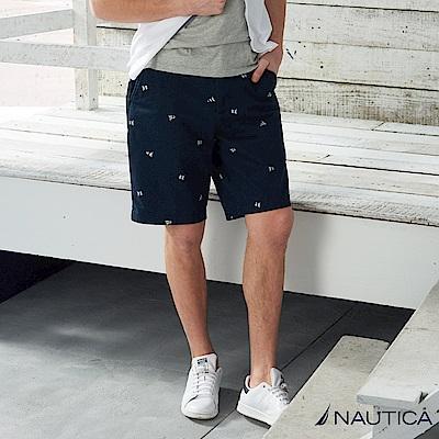 Nautica 彈力修身旗幟圖案短褲 -深藍