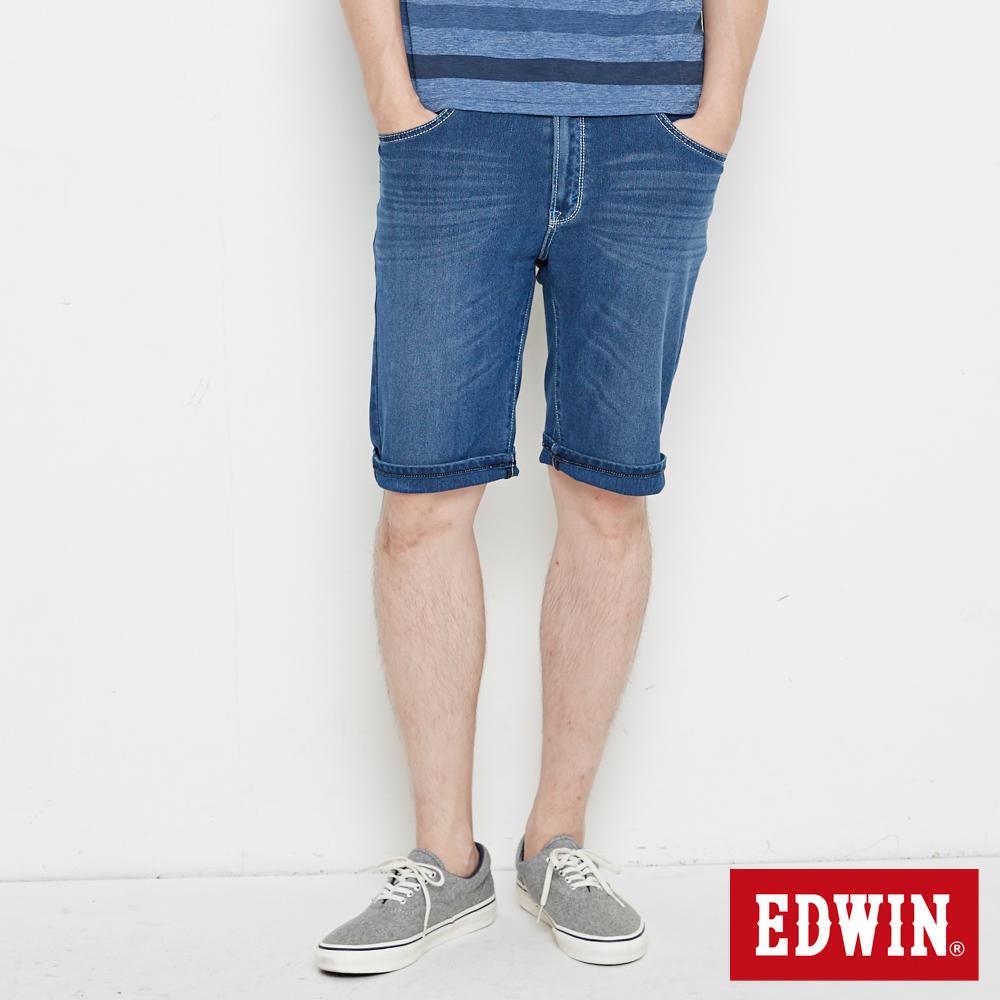 EDWIN 加大碼 迦績極涼寬短褲-男-石洗綠
