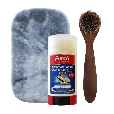 足的美形 英國Punch蜜蠟閃亮鞋膏 透明+鞋刷.布組合
