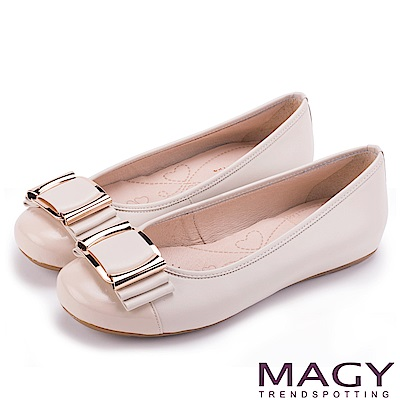 MAGY OL通勤專屬 方型飾釦牛皮平底娃娃鞋-米色