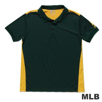 MLB-奧克蘭運動家隊修身撞色快排POLO衫-深綠男