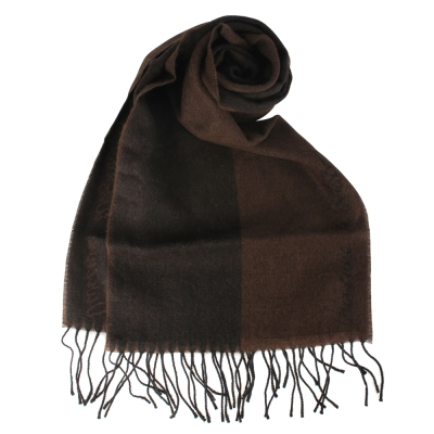 Vivienne Westwood 雙色草寫LOGO素面羊毛圍巾-咖啡色