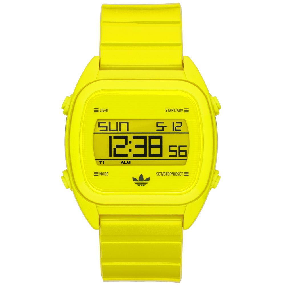 adidas線條創造三葉數位腕錶-螢光黃38mm